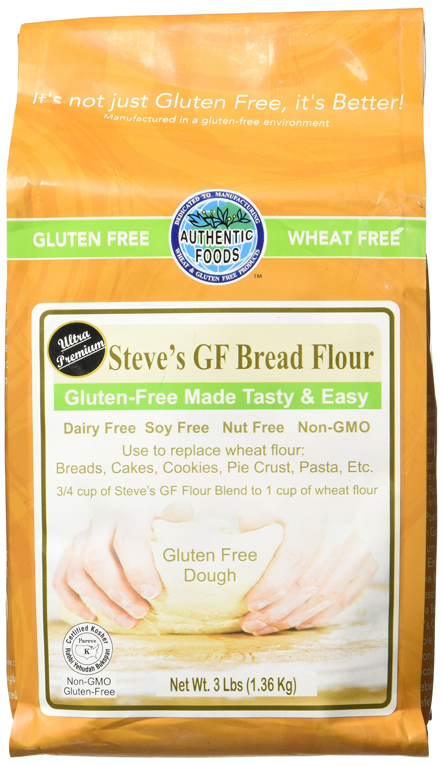 Authentic Foods Steve's Gluten Free Bread Flour Blend, 3 Pound by Authentic Foods