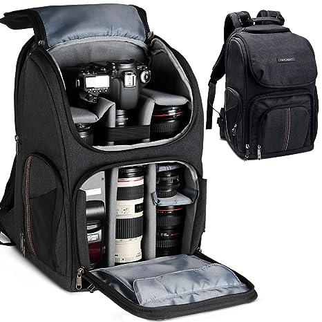K&F Concept - Mochila para cámara de fotos con gran capacidad y abertura delantera