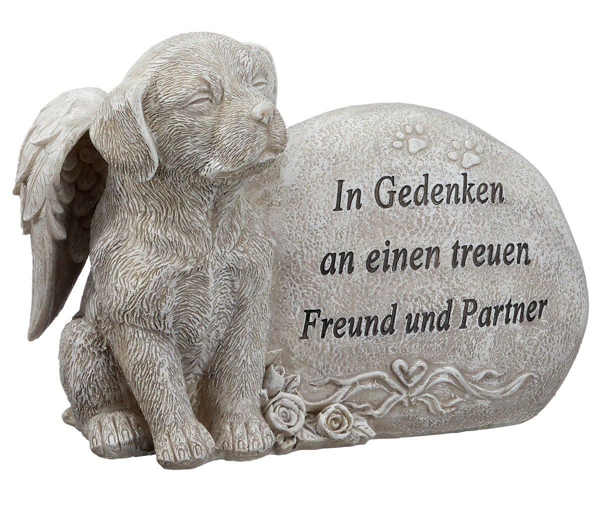 Grabdeko Hund mit Engelsflügeln Spruch Grabstein 17 cm Grau unbekannt