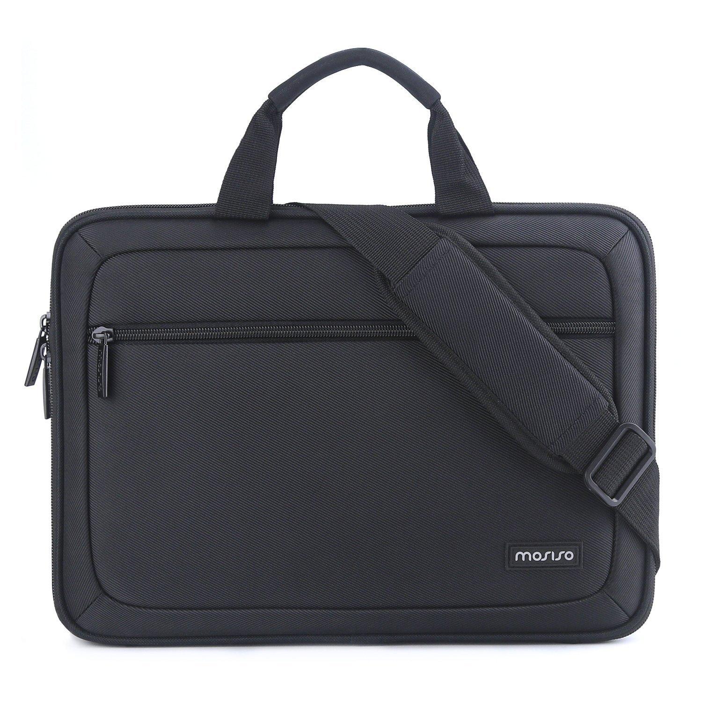 Mosiso EVA Laptop Shoulder Bag Business Briefcase for 13-13.3 Inch MacBook Pro, MacBook Air, Notebook Portable Multiuse Messenger Sleeve Cover Unisex Tote Handbag with Back Belt for Trolly Case, Black