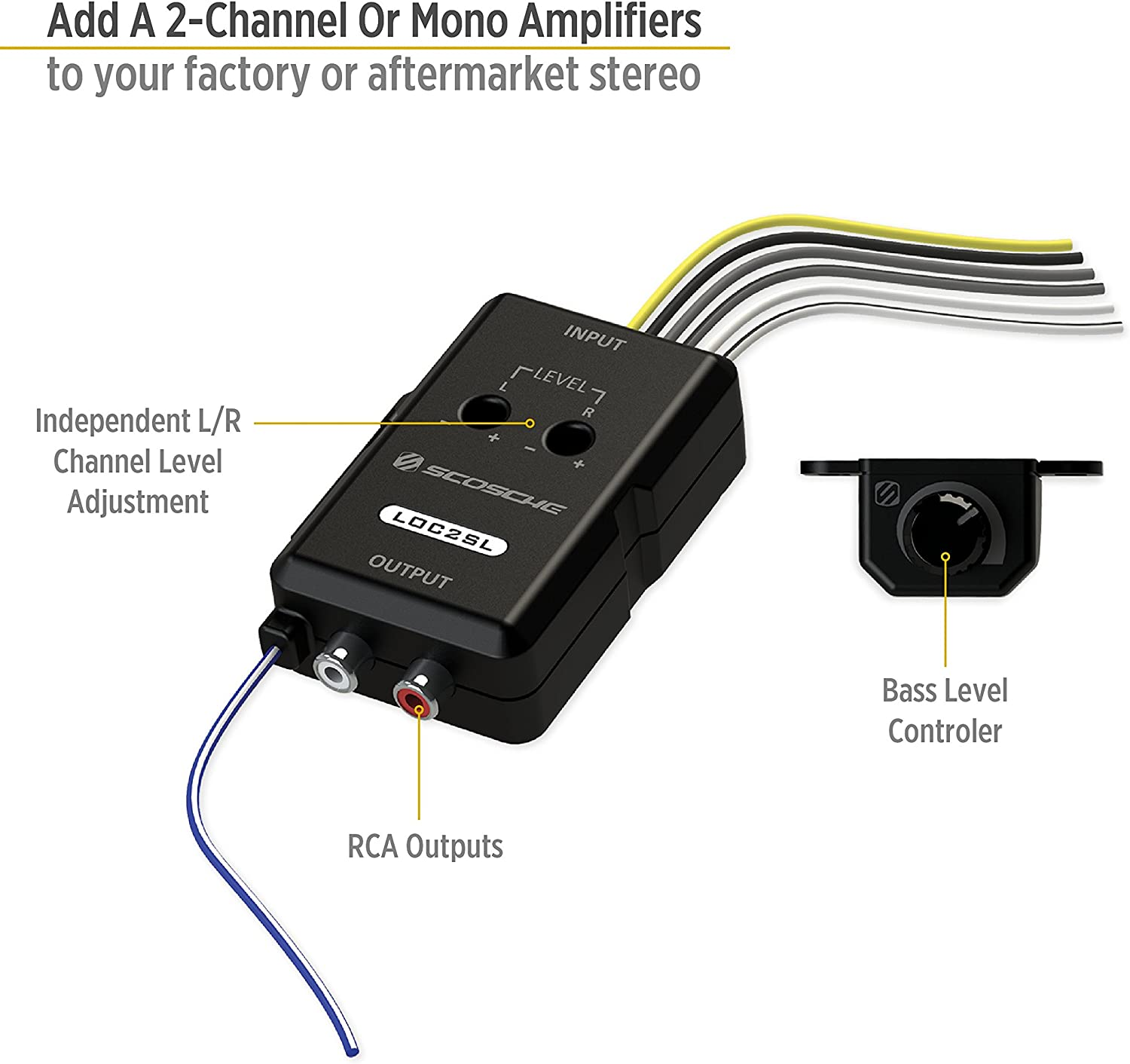 Amazon.com: SCOSCHE LOC2SL Car Stereo 2-Channel Audio Adjustable Amplifier  with Add-On Adapter and Remote Control Knob, BlackAmazon.com
