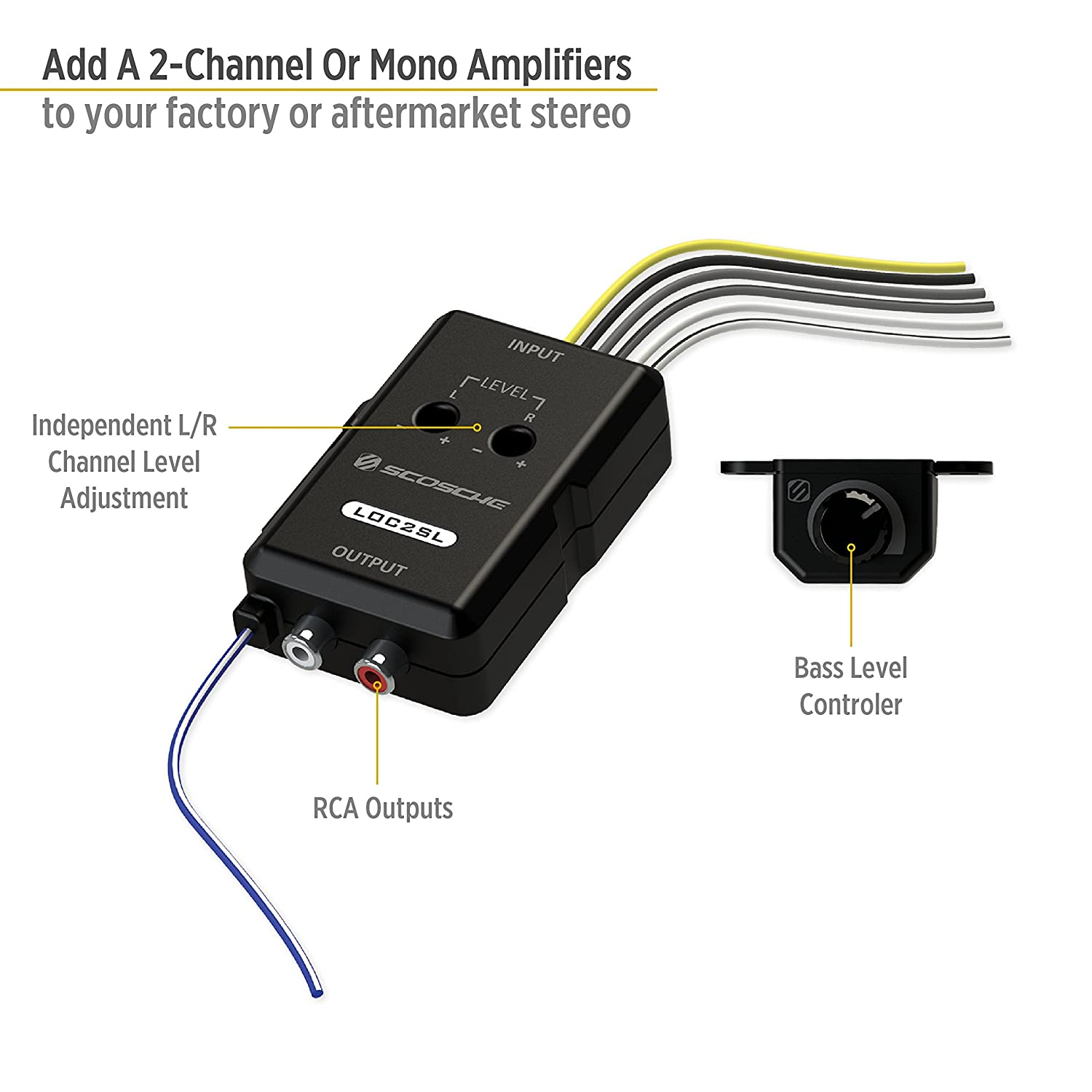 Scosche Loc2sl Line Out Converter With Bass Control Cell Stereo Adapter Wiring Harness Phones Accessories