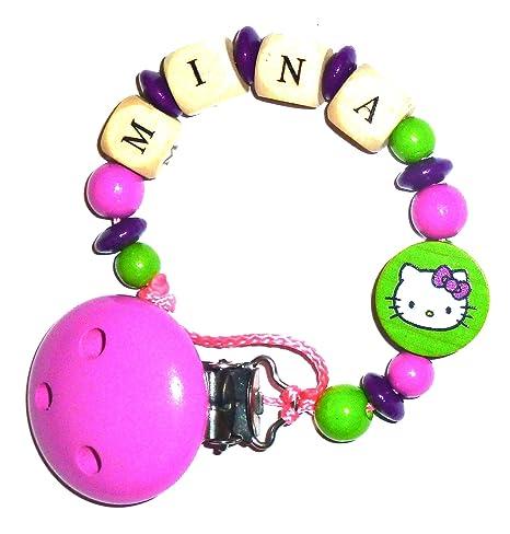 Cadena para chupete con nombre – Hello Kitty – Gato – purpurlila/verde/rosa