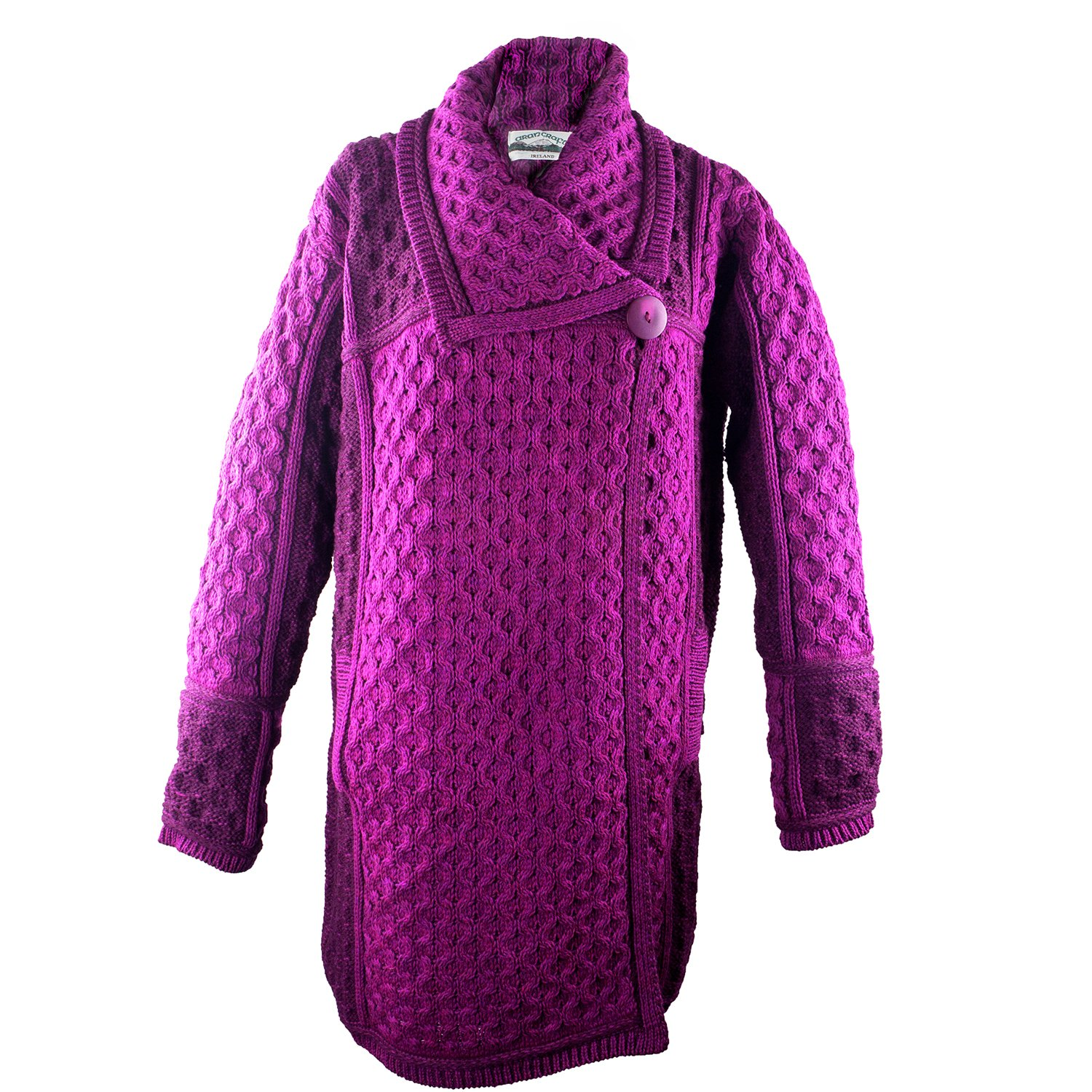 100% Irish Merino Wool Single Button Ladies Plated Coat by Westend Knitwear, Red,Large