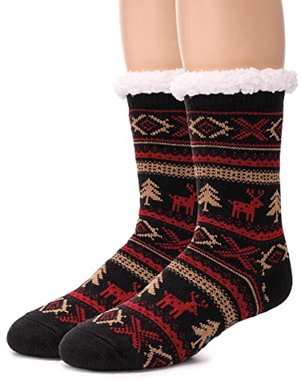 59fa6974f EBMORE Women s Home Super Soft Warm Winter Weight Snowflake Fleece Crew  Socks One Pair(Black