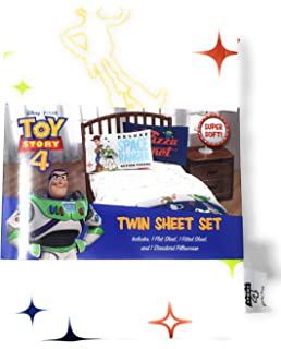 Toys Story 4 Twin Sheet Set with 3 Piece Flat and Fitted Sheets Plus Pillowcase