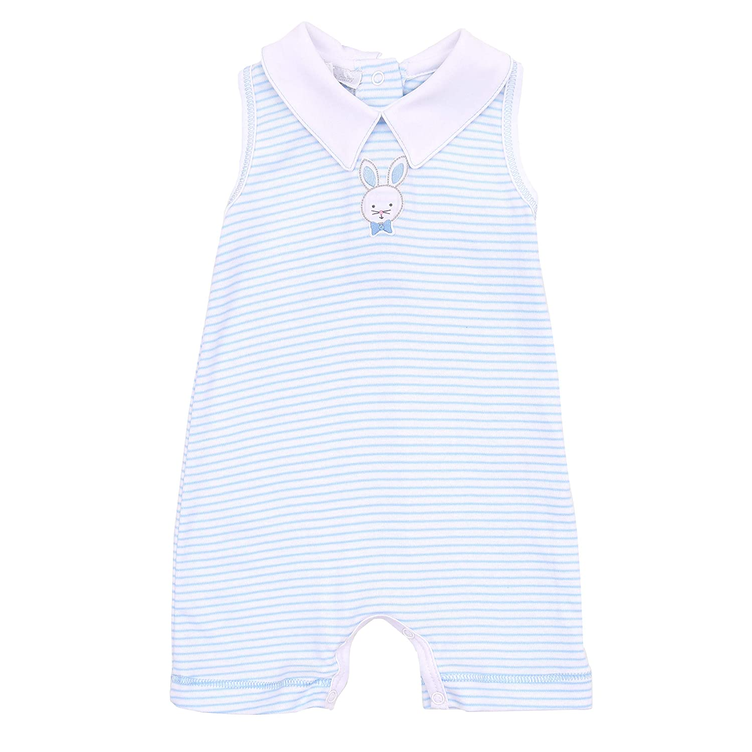 Magnolia Baby Baby Boy Classic Bunnies Emb Collared Sleeveless Short Playsuit Blue