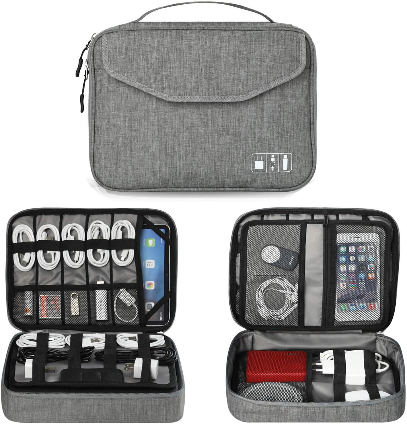 Electronics Organizer, Jelly Comb Electronic Accessories Double Layer Travel Cable Organizer Cord Storage Bag for Cables, iPad (Up to 12.9''), Power Bank, USB Flash Drive and More-Large (Gray)