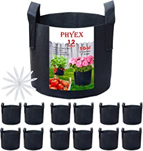 PHYEX 12-Pack 5 Gallon Nonwoven Grow Bags, Aeration Fabric Pots with Durable Handles, Come with 12 Pcs Plant Labels