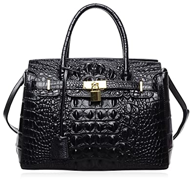 742388b6de PIJUSHI Women s Handbags Crocodile Top Handle Satchel Bags Designer Padlock  Handbags For Women (P10103 Crocodile