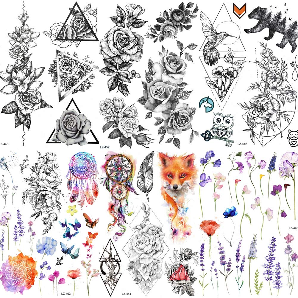 COKTAK 6 Pieces/Lot Large 3D Flower Rose Temporary Tattoos Stickers For Women Girls DOT Pattern Sexy Body Art Big Arm Tatoo Lavender Black Geometric Watercolor Tattoo Daisy Peony Sweetpea Lily Flora