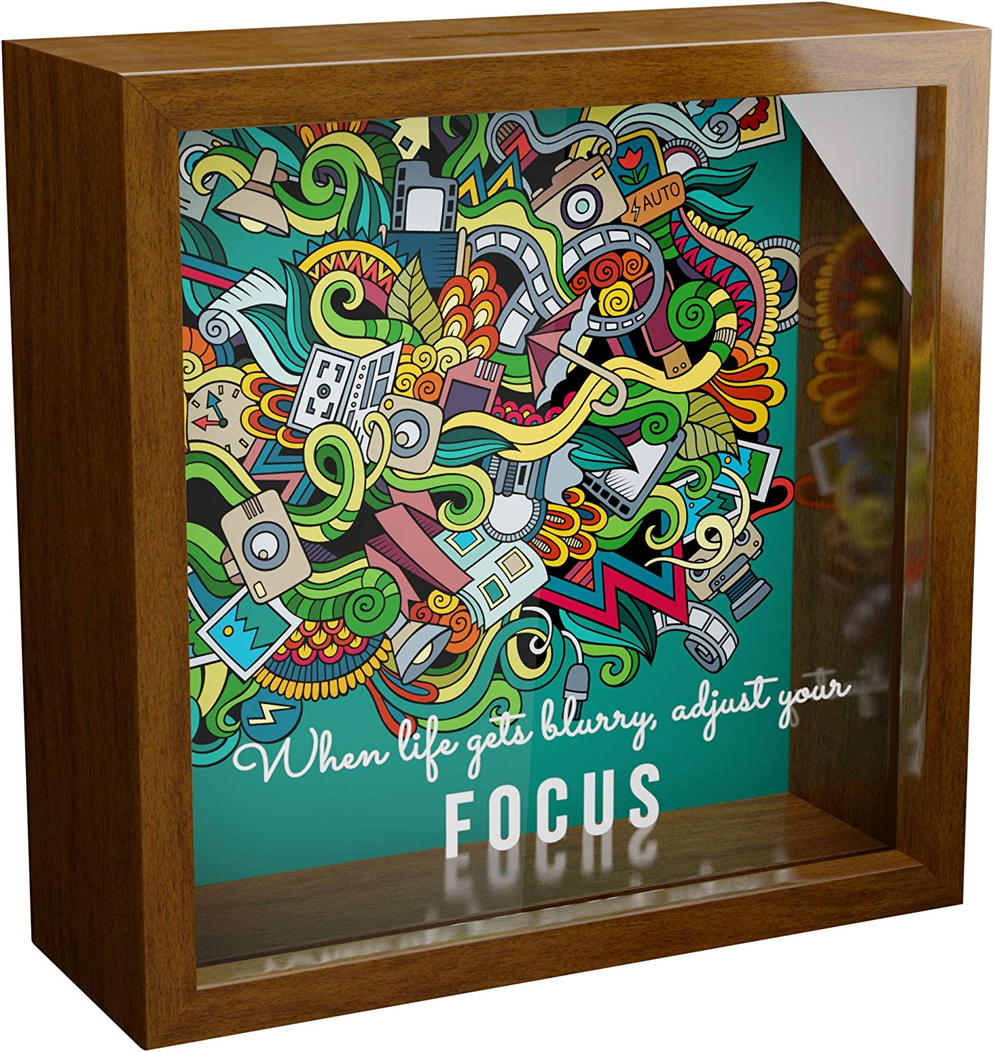 Motivational Gift | 6x6x2 Wooden Shadow Box Ideal for Photographers | Keepsake Frame Gift for Photography Lovers | Camera Wall Decor | Themed Memory Boxes for Office or Studio Decor