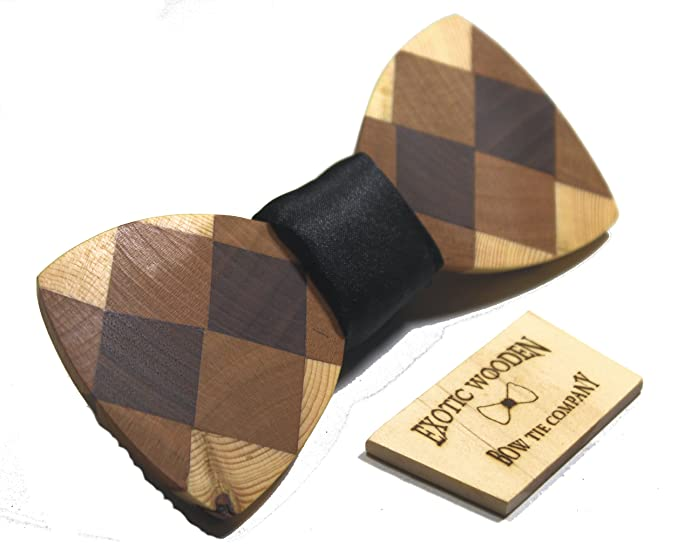 Solid Multi Wood Bow Tie With Wooden Gift/Storage Box (Black Satin)