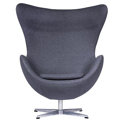 LeisureMod Arne Jacobsen Egg Chair In Dark Gray Wool