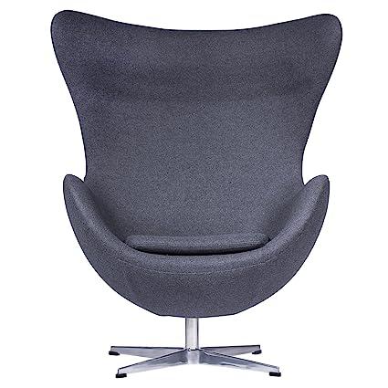 Amazoncom Leisuremod Arne Jacobsen Egg Chair In Dark Gray Wool