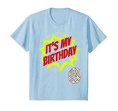 Kids 6 Year Old Superhero Birthday Shirt 6th BDay Super Hero Gift 4 Baby Blue