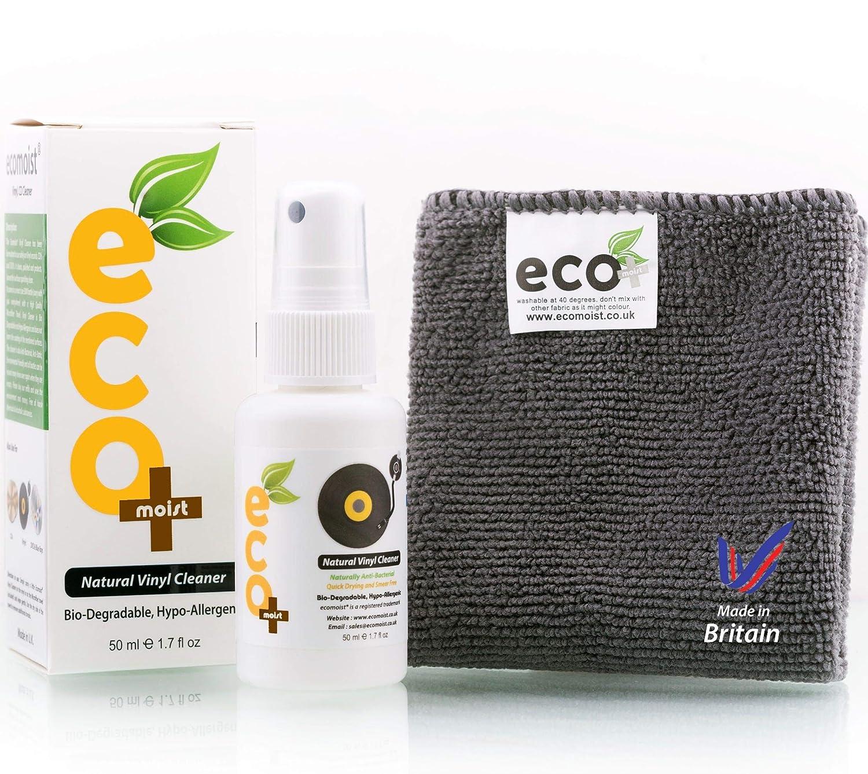 Ecomoist Vinyl Cleaner Kit 50ML with Fine Microfiber Towel, Made in the UK. Green product. Ecozon Ltd VC50ML