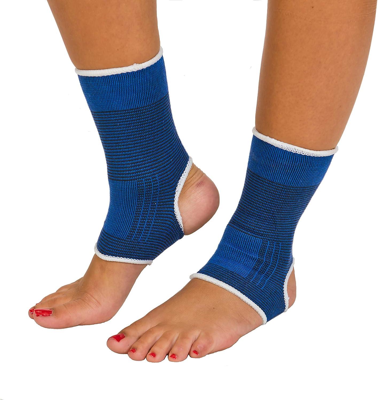 Ortesis de pie | Pie de ortesis | Banda de tobillo | Lesiones y dolor de rodilla | Deporte | Trabajo | Tiempo libre | unisex | Tamaño universal | Azul | dos piezas | pie derecho e izquierdo