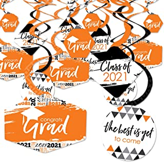 product image for Big Dot of Happiness Orange Grad - Best is Yet to Come - 2021 Orange Graduation Party Hanging Decor - Party Decoration Swirls - Set of 40