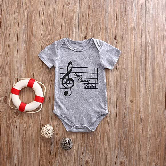 a7fae70f8 Newborn Baby Boys'Short Sleeve Music Character Bodysuit Playsuit Outfits (0-6  Month, Grey)