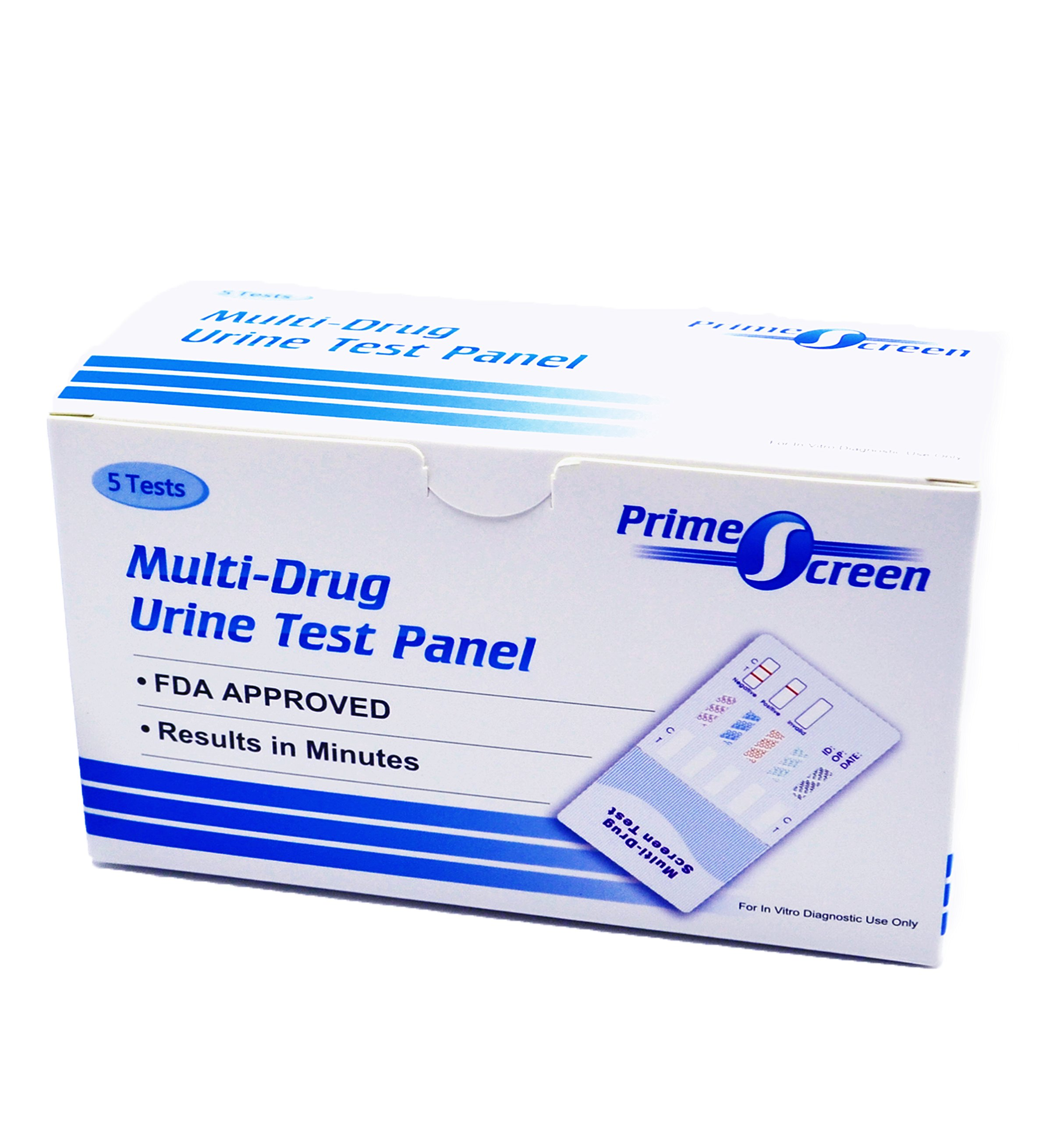 PrimeScreen [5 Pack] 5 Panel Urine Drug Test - Marijuana (THC),Cocaine (COC),Opiate (OPI 2000),Amphetamine (AMP),Phencyclidine (PCP) #WDOA-154