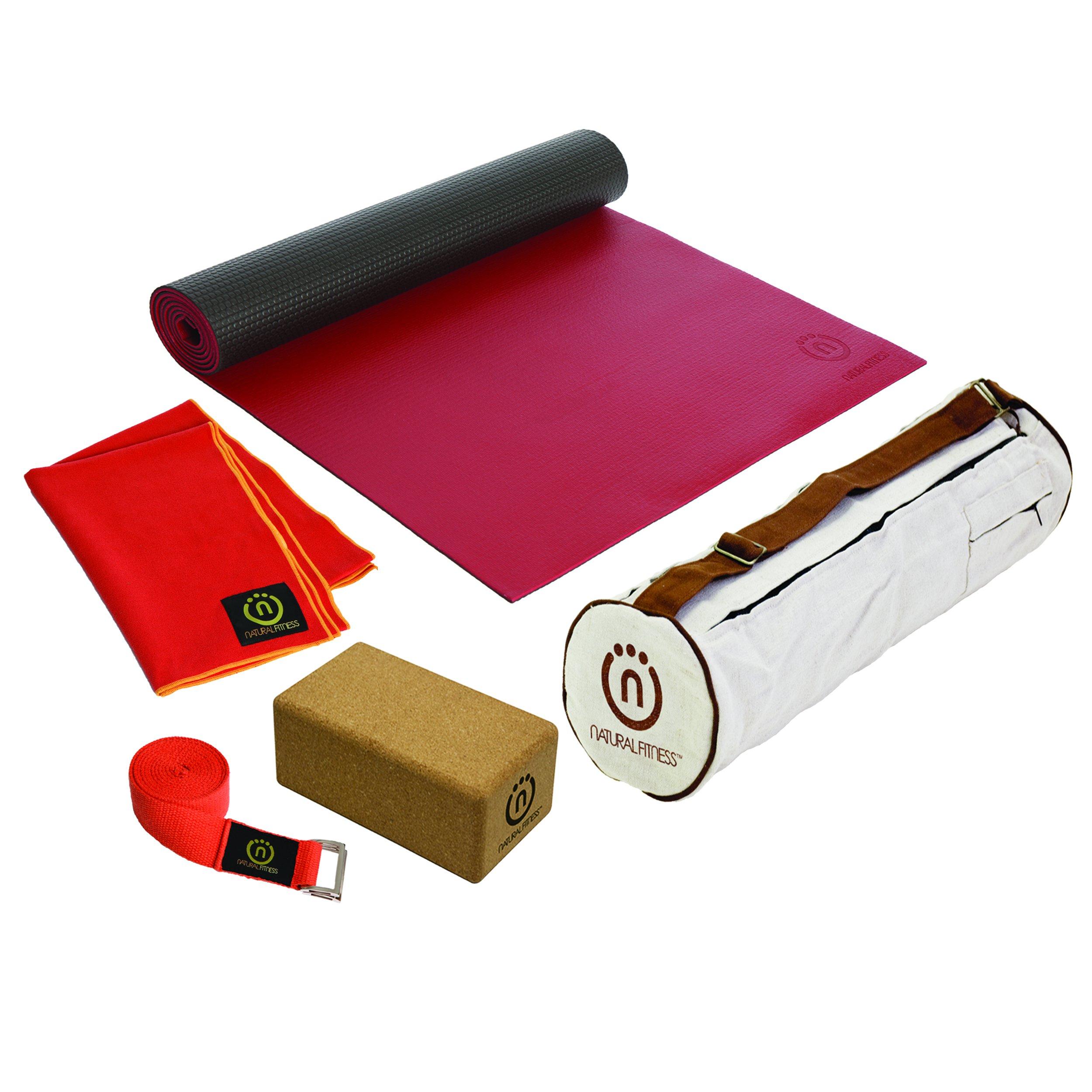 Hot Yoga Kit (Warrior Mat, Towel, Cork Block, Hemp Strap) One Size by Natural Fitness