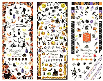Halloween Cute 3D Nail Decals Water Transfer Nail Stickers Tattoo DIY  Decoration