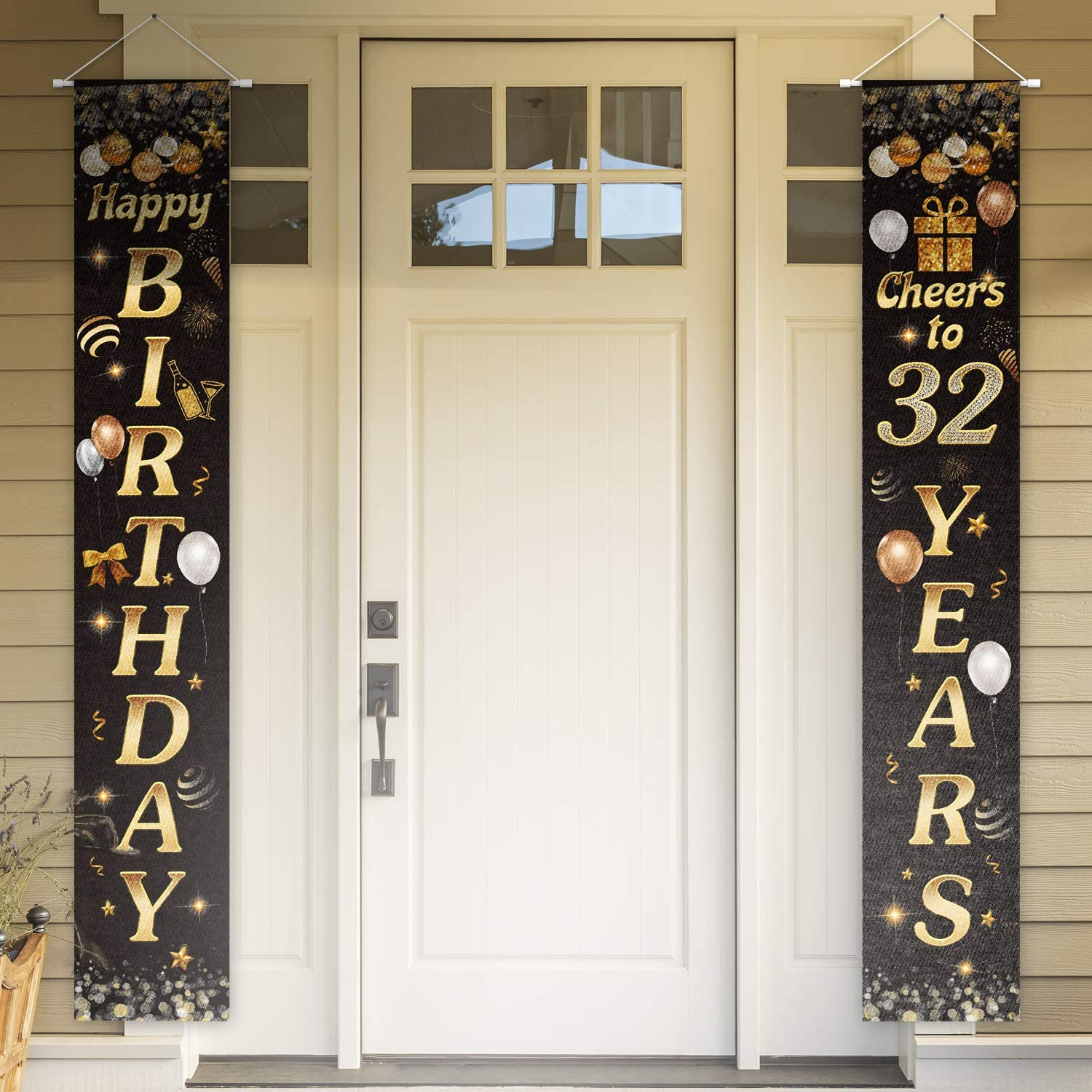 PAKBOOM Happy Birthday Cheers to 32 Years Black Gold Yard Sign Door Banner 32nd Birthday Decorations Party Supplies