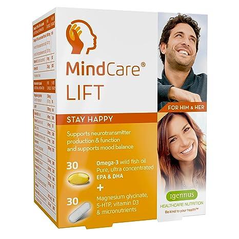 MindCare LIFT, suplemento alimenticio para estado feliz. Aceite de pescado salvaje omega-3 de alta resistencia, ...