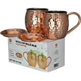 Kopperlux Copper mugs. Moscow mule copper mugs set of 2, handcrafted from 100% pure copper. Copper gifts comes in gift box. Perfect for copper anniversary gifts, dads gifts, mother gifts. Ideal for cocktails and mocktails, Copper kitchen décor. Comes with 2 bonus copper coasters.