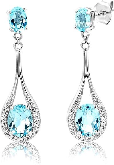 Sky Blue Topaz 925 Sterling Silver Drop Earrings