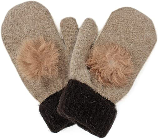Luxury Beige And Brown Womens Mittens With Faux Fur Pom Pom at Amazon  Women's Clothing store