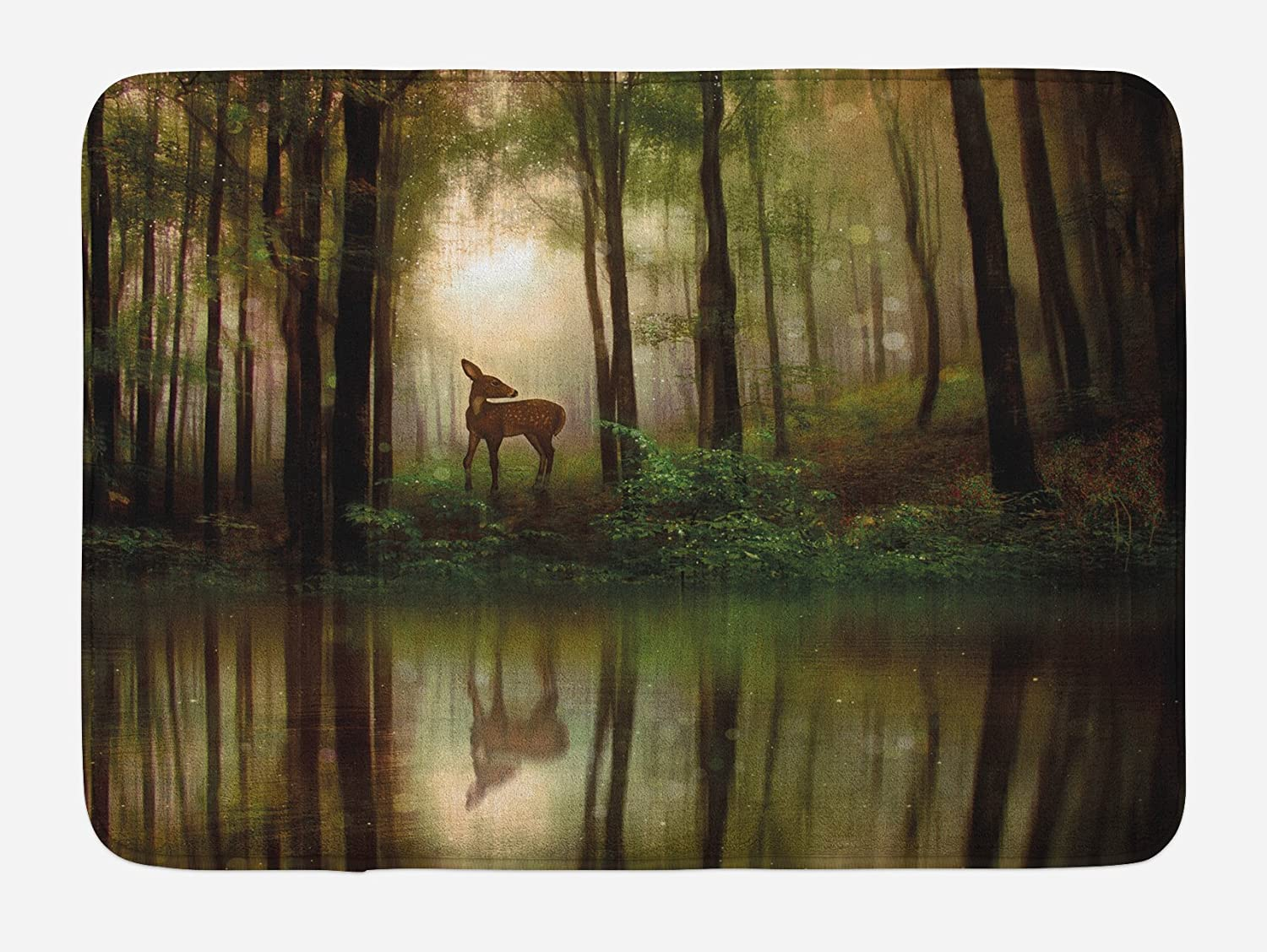 """Ambesonne Nature Bath Mat, Baby Deer in The Forest Reflection on Lake Foggy Woodland Graphic, Plush Bathroom Decor Mat with Non Slip Backing, 29.5"""" X 17.5"""", Green Cocoa"""