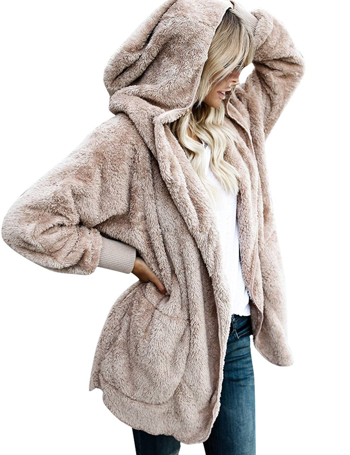 SVALIY Womens Fuzzy Fleece Loose Open Front Hooded Cardigan Coats Outwear Pockets Camel XL