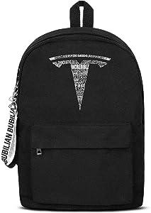 School College Black Bookbags with Pencil Case Tesla-Logo- Best Travel Laptop Canvas Backpacks