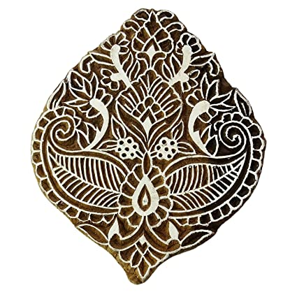 Brown Printing Block Decorative Block Floral Stamps For Clay Wood Textile Stamp