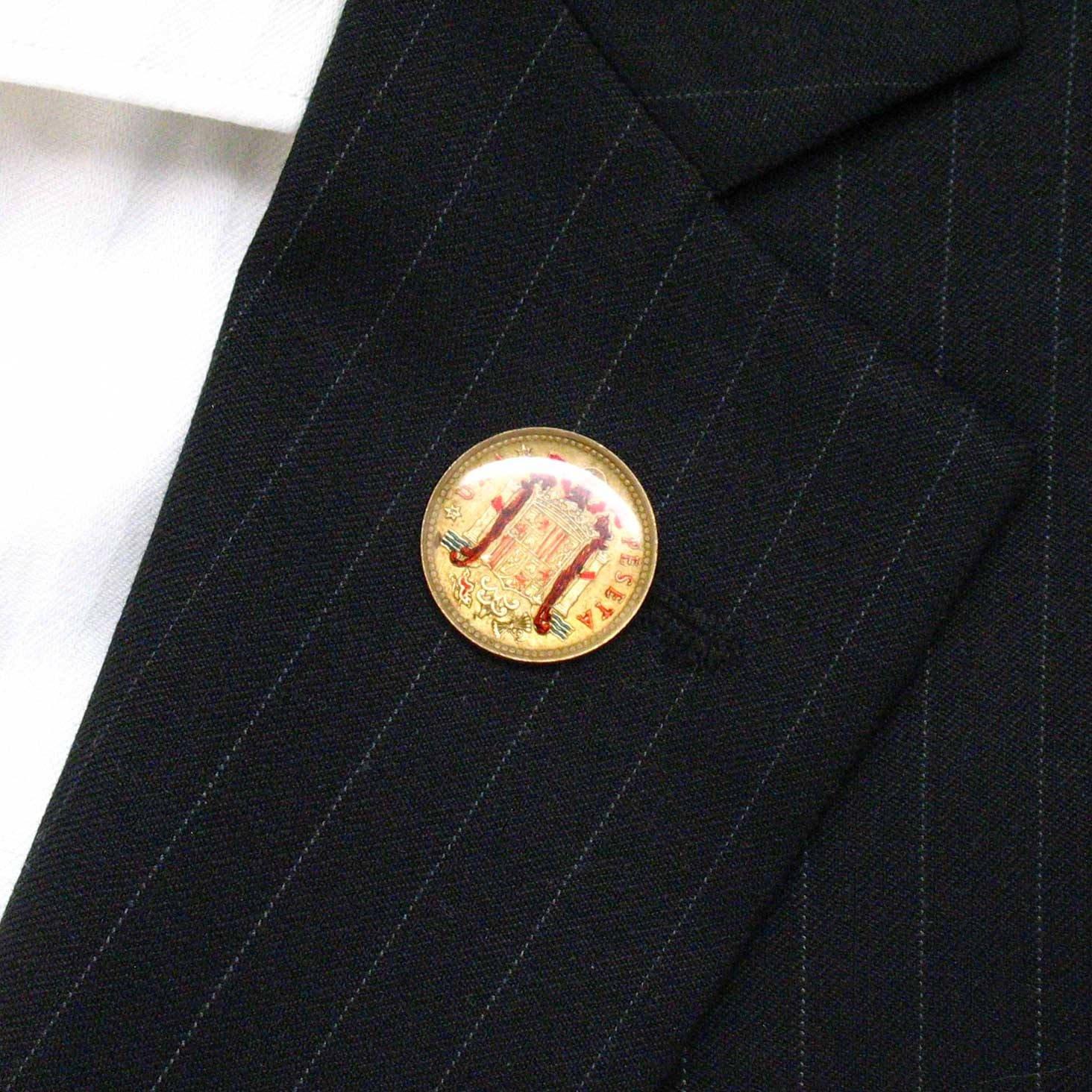 Amazon.com: Spain Coin Tie Tack Lapel Pin Suit Barcelona ...