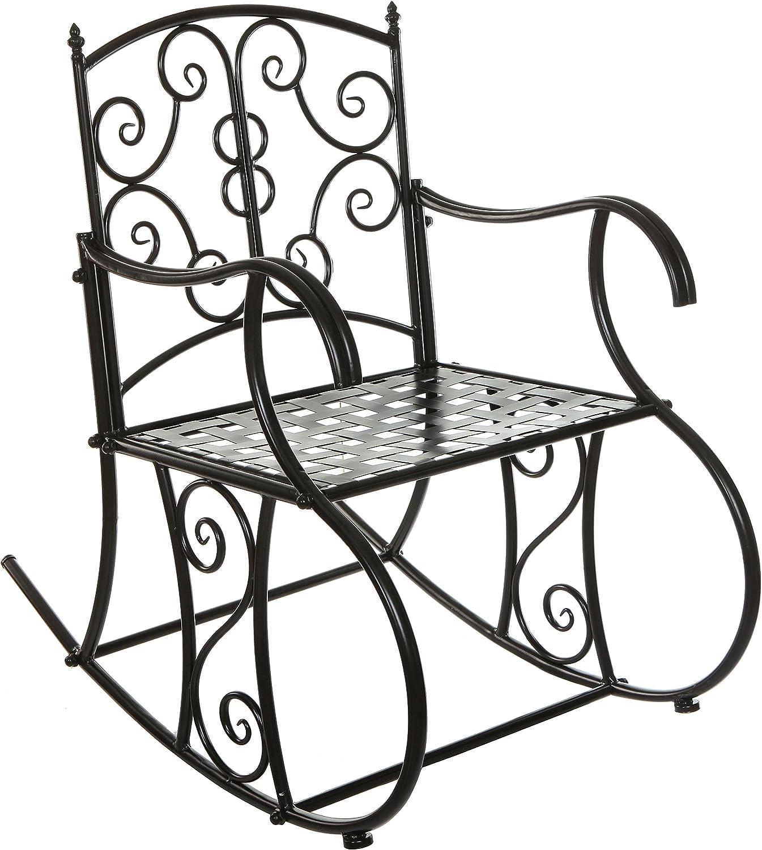 Black Metal Scrollwork Design Decorative Outdoor Patio Garden Deck Rocking Chair