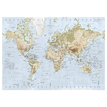 New Ikea Premiar World Map Picture with Frame/canvas Large 55 X 78