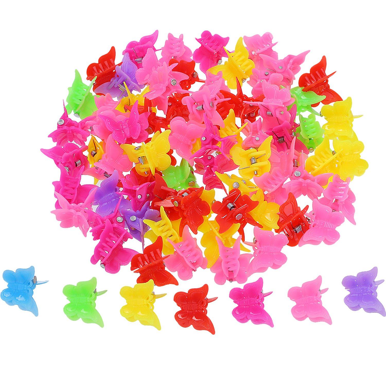 Hicarer 100 Pezzi Fermagli a Farfalla per Capelli Clip Artiglio Spilla per Capelli, Assortiti Colori Mini Clip a Mandibola Accessori per Capelli per Donne e Ragazze