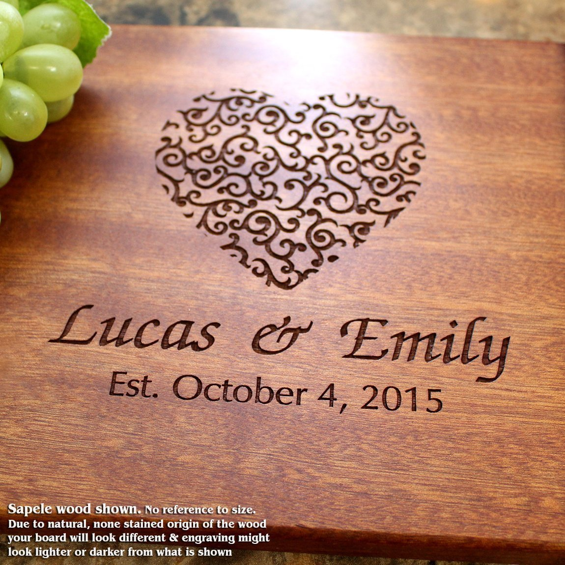 Personalized Cutting Board, Custom Keepsake, Engraved Serving Cheese Plate, Wedding, Anniversary, Engagement, Housewarming, Birthday, Corporate, Closing Gift #213