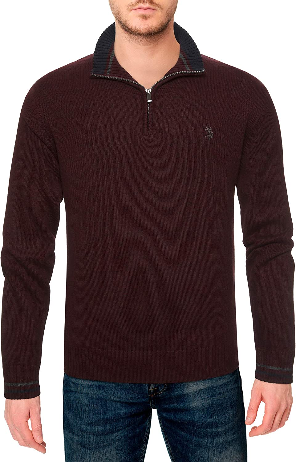 Mens Texture Fine Stripe Full Zip Sweater Sweater U.S Polo Assn