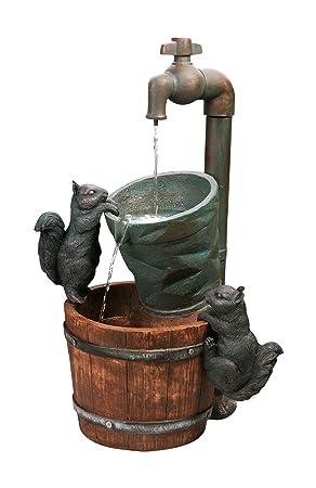 Fontaine D'Extérieur Solaire Robinet Et Ecureuils: Amazon.Fr: Jardin