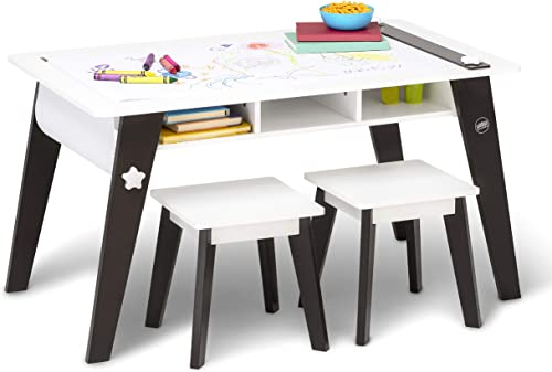 Wildkin Kids Arts and Crafts Table Set for Boys and Girls, Mid Century Modern Design Craft Table Includes Two Stools, Paper Two Storage Cubbies Underneath Helps Keep Art Supplies Organized Espresso