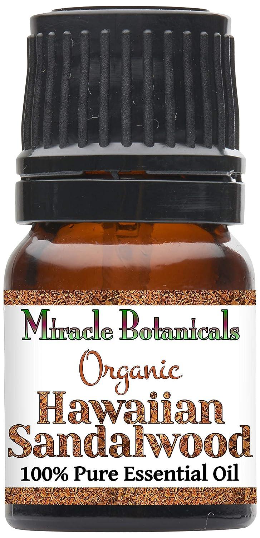 Miracle Botanicals Organic Hawaiian Sandalwood Essential Oil - 100% Pure Santalum Paniculatum - 2.5ml, 5ml, or 10ml Sizes - Therapeutic Grade - 2.5ml