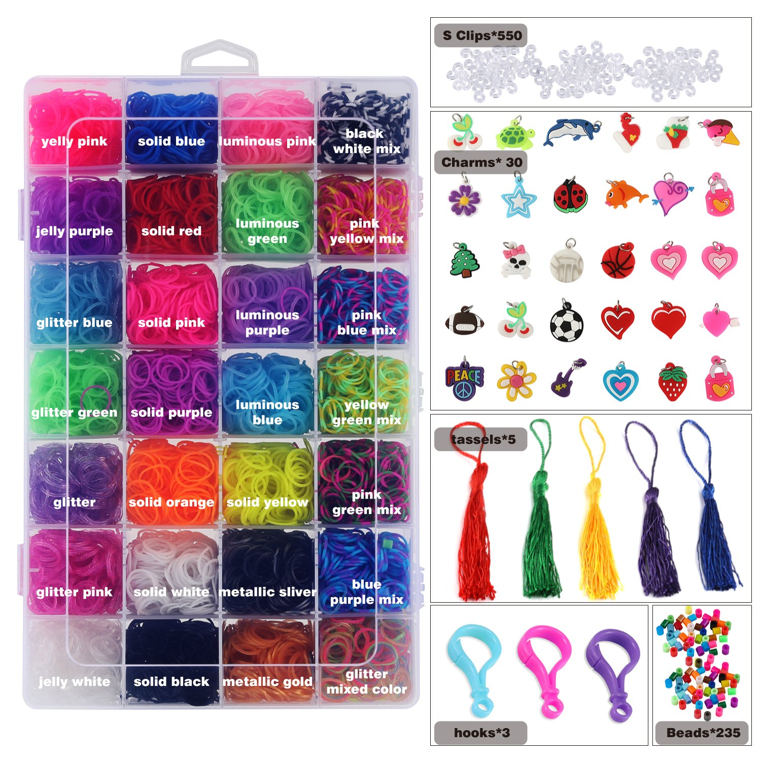 Glonova 11800+ Rubber Bands Refill Loom Kit Organizer for Kids Bracelet Weaving DIY Crafting, Includes 11050 Rubber Bands, 3 Backpack Hooks, 30 Charms, 235 Beads, 550 Clips, 5 Tassel, Organizer by Glonova (Image #1)