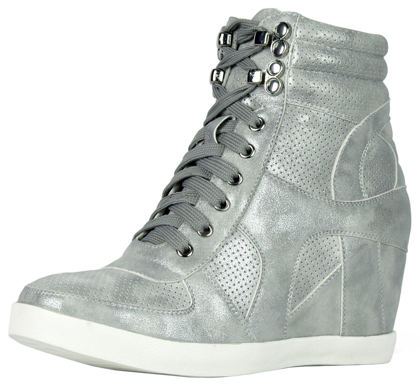 Refresh Footwear Women's High Top Hidden Wedge Fashion Sneaker B075QQ1ZM8 8.5 B(M) US|Silver