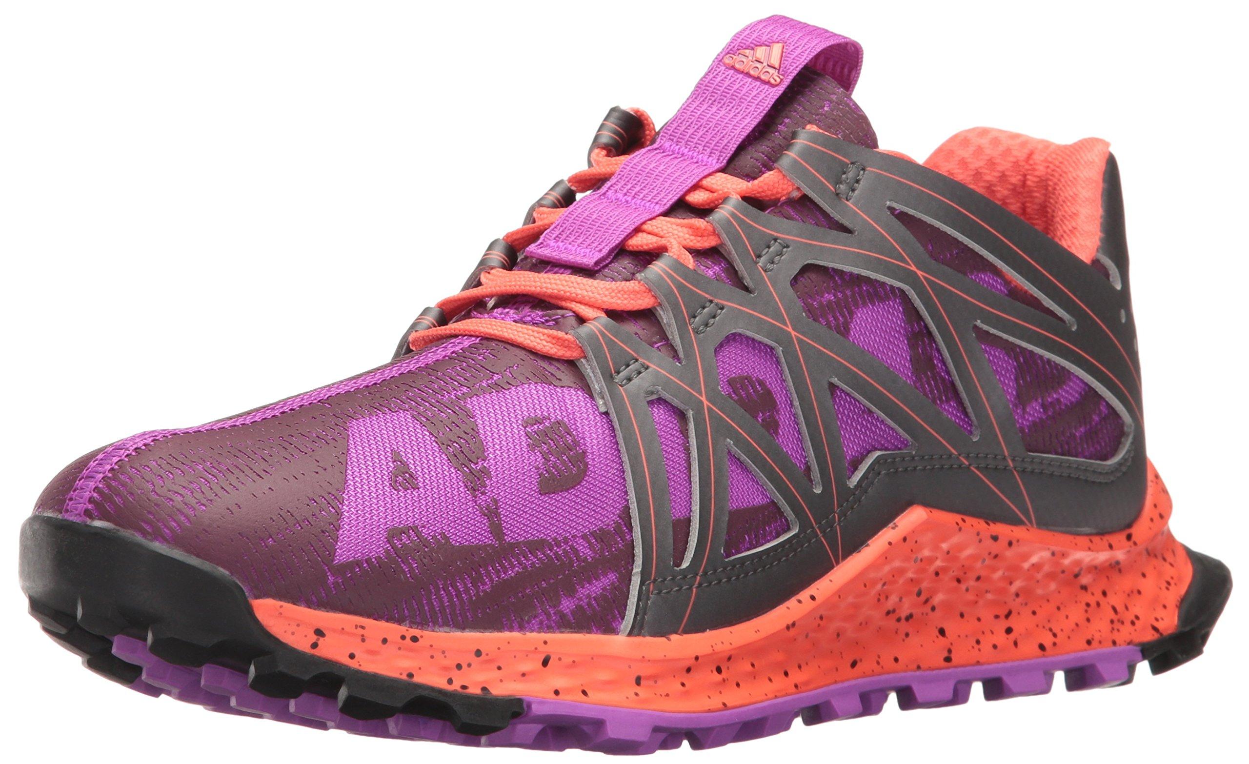 adidas Women's Vigor Bounce w Trail Runner, Shock Purple/Night/Easy Coral, 5 M US