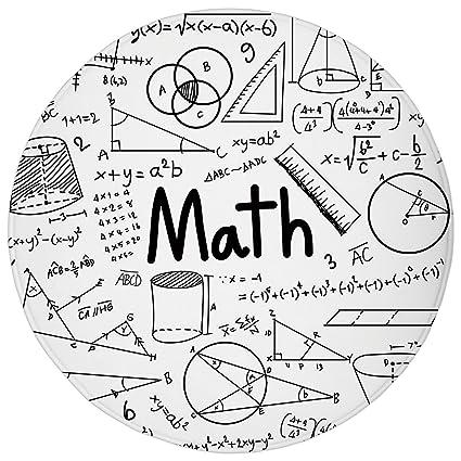Amazon Com Jxsed Round Bathroom Rug Mathematics Classroom Decor
