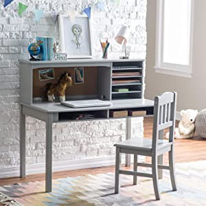 Guidecraft Children's Media Desk and Chair Set Gray: Student Study Computer Workstation, Wooden Kids Bedroom Furniture